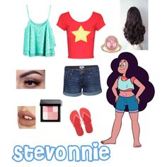stevonnie from Steven Universe by zamantha-palazuelos on Polyvore featuring polyvore, fashion, style, Jane Norman, Paige Denim, Havaianas, Halo, Bobbi Brown Cosmetics and Charlotte Tilbury
