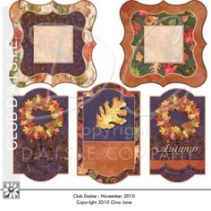 Do it yourself, printable tags and labels for Fall, Autumn gift giving, makes hand made cards, tags, and place markers by Gina Jane. Free Printables, Free Graphics, Free Kits, Free Digital Clip Art, Graphics and Backgrounds for Scrapbooking, Gina Jane Designs - DAISIE Company