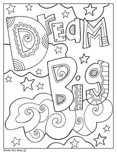 Dream big - classroom doodles from doodle art alley school coloring pages, quote School Coloring Pages, Quote Coloring Pages, Colouring Pages, Printable Coloring Pages, Coloring Pages For Kids, Coloring Sheets, Coloring Books, Kids Coloring, Doodle Coloring