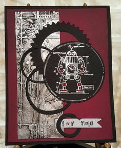 Tim Holtz Robots in red!  Check out this item in my Etsy shop https://www.etsy.com/listing/248935317/handmade-birthday-card-with-tim-holtz