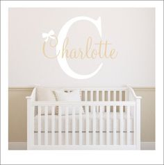 Personalized Nursery Decal Name Initial and Bow Girls Wall Decal Girls Nursery Decal Baby Nursery Decal Gender Neutral Decal Bedroom Home by CustomVinylbyBridge on Etsy https://www.etsy.com/listing/235688523/personalized-nursery-decal-name-initial