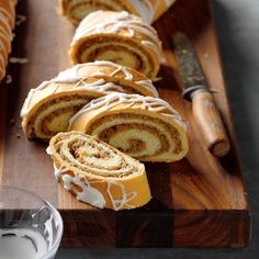 It isn't officially the holidays until I've made this treasured nut roll recipe from my husband's grandmother. The apple-walnut filling is moist, subtly sweet and flavorful. —Donna Bardocz, Howell, Michigan Hungarian Nut Roll Recipe, Hungarian Recipes, Hungarian Food, German Recipes, Baking Recipes, Cake Recipes, Dessert Recipes, Bread Recipes, Dessert Bread