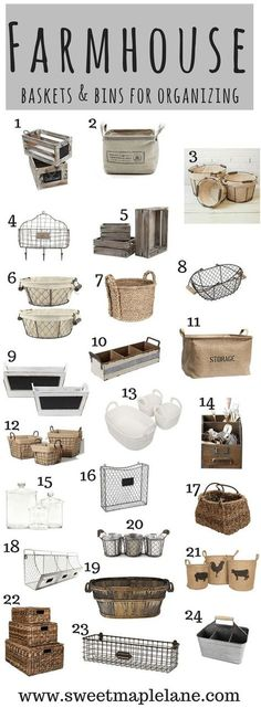 Rustic Farmhouse Baskets and Bins for Organizing, Home Decor, The ultimate farmhouse bins and baskets roundup! Great for organizing and adding some farmhouse style to your home! Farmhouse Baskets, Farmhouse Chic, Farmhouse Design, Country Farmhouse, Country Decor, Rustic Decor, Rustic Baskets, Farmhouse Windows, Rustic Style