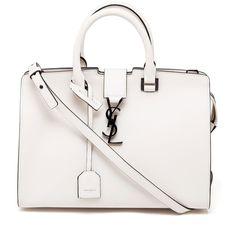 SAINT LAURENT Medium Leather Monogram Cabas Bag (15.030 VEF) ❤ liked on Polyvore featuring bags, handbags, evening purse, white handbags, white leather purse, real leather handbags and real leather purses