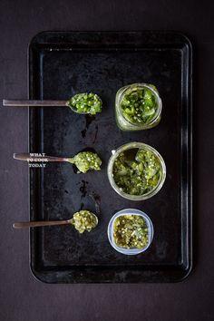 Indonesian green sambal (Sambal Ijo Padang). A great condiment to many dishes