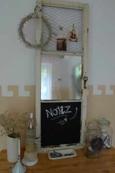 Holzfenster - Tafel - Spiegel - Pinwand - Multifunktionsteil