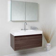 Fresca Mezzo Gray Oak Modern Bathroom Vanity w/ Medicine Cabinet | Free Shipping