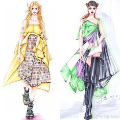 Fashion Design Drawings, Fashion Sketches, Illustration Sketches, Illustrations, Art Photography, Fashion Photography, Fashion Sketchbook, Fashion Painting, Designs To Draw