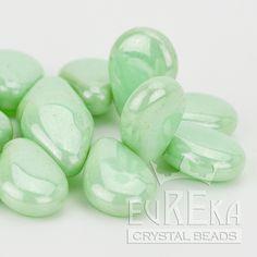 FLORAL BEADS SALE Eureka Crystal Beads - 13x10mm Pear Shaped Drop LIGHT GREEN LUSTER Czech Glass Beads (20), $2.75 (http://www.eurekacrystalbeads.com/13x10mm-pear-shaped-drop-light-green-luster-czech-glass-beads-20/)