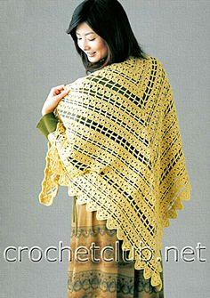 Crochet shawl yellow - free pattern  вязаная желтая шаль