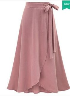 A Line Slim Medium Long Loose Bowknot Women Skirt