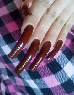 Super Long Nature Nails The Secret Ideas Long Red Nails, Long Fingernails, Burgundy Nails, Long Square Acrylic Nails, Curved Nails, Long Natural Nails, Nail Garden, Secret Nails, Sharp Nails