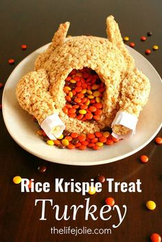 This Rice Krispie Treat Turkey is a super-fun dessert option for both kids and adults! I could not believe how quick and easy it was to make- everyone LOVED it!