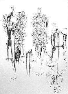 Fashion Sketchbook - fashion design drawings; dress sketches; fashion portfolio; creative process // Connie Blackaller