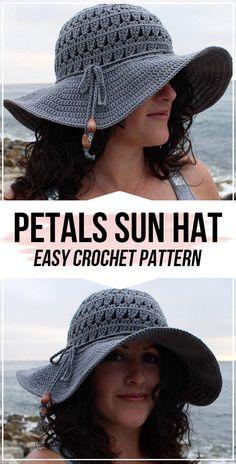 crochet Petals Sun Hat pattern crochet Petals Sun Hat pattern – easy crochet hat pattern for beginners Easy Crochet Hat Patterns, Crochet Yarn, Crochet Stitch, Crochet Granny, Knitting Patterns, Crochet Scarves, Crochet Clothes, Crochet Summer Hats, Crochet Sun Hats