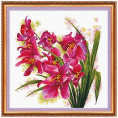 Cross stitch kit Purple Orhids picture Free Shipping by AbrisA