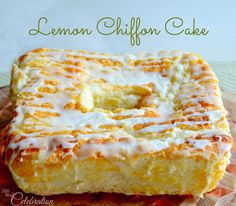 Light and luscious Lemon Chiffon Cake with Glace Lemon Icing! So delicious! Get the recipe at littlemisscelebration.com