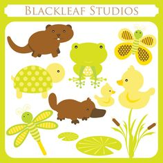 Baby Pond Animals Clipart - beaver, otter, ducks, frog, butterfly, lotus, platypus, cute pond, premade logo - Personal & Commercial. $5.00, via Etsy.