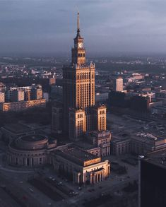 """Palace of Culture and Science in Warsaw, designed by Lev Rudnev and bulid in Sometimes called """"The Eighth Sister"""" or """"Stalin's Dick"""". Warsaw City, Warsaw Poland, Islamic Architecture, Beautiful Architecture, Beautiful Homes, Beautiful Places, Poland History, Purple Walls, Brutalist"""