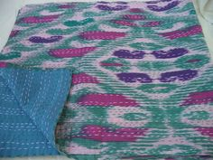 100 ikat COTTON handmade kantha throw by jaisalmerhandloom on Etsy, $69.00 Awesome Bedrooms, Some Ideas, Ikat, Tie Dye, Cotton, Fun, Handmade, Etsy, Tops
