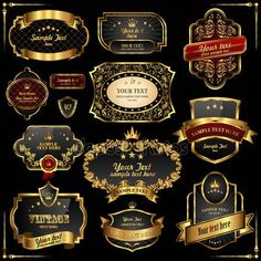 Quadros retrô vector de ouro sobre fundo preto —  Vetores de Stock #4663754