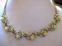 Vintage Emmons Choker Necklace Signed Carved Roses Beautiful | eBay