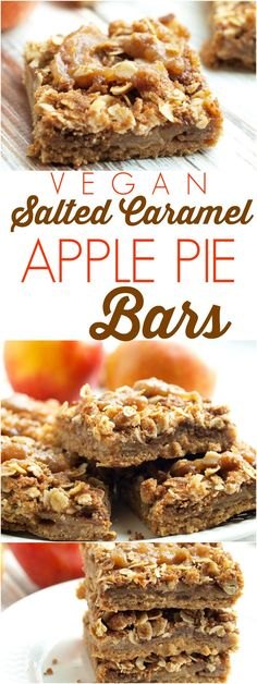 These vegan Salted Caramel Apple Pie bars the the most amazing apple dessert! So much easier than apple pie and they are incredible!! Such a great fall baking recipe. These are also perfect for a Thanksgiving dessert.