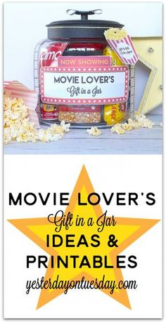 The Best tutorials for DIY GIFTS in a jar - MOVIE LOVER'S GIFT IN A JAR