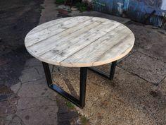 Mesa de comedor redonda andamio reciclada con por ReviveJoinery