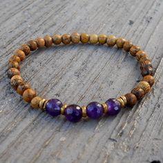 Bracelets - Healing, Genuine Amethyst and Wood Bracelet