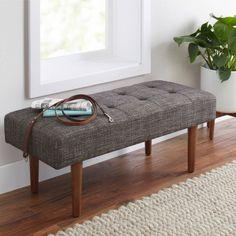 Better Homes and Gardens Flynn Mid Century Modern Upholstered Bench