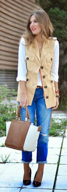 Daily New Fashion : Yellow Contrast Leopard Sleeveless Belt Coat + Blue Ripped Pockets Denim Pant.