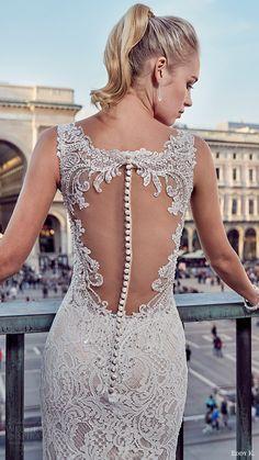 eddy k milano bridal 2017 sleeveless v neck trumpet lace wedding dress (md209) zbv illusion back train