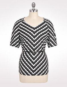 Plus Size Textured Stripe Belted Top | Dressbarn