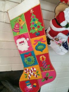 Vintage Christmas Stocking Bucilla felt sequins BLING jeweled