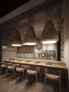 Restaurant : Yoshi Fujiwara on Behance Restaurant Design Concepts, Small Restaurant Design, Restaurant Concept, Restaurant Interior Design, Cafe Interior, Cafe Design, Cafe Restaurant, Restaurant Booth Seating, Japanese Restaurant Interior