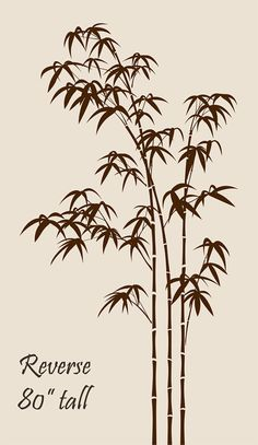 80 tall Large Bamboo Tree Removable Vinyl Wall by decalyourwall