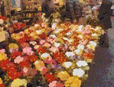 Bancarella di fiori dipinta stile Klimt