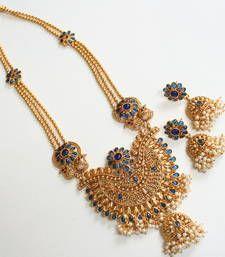 Buy GORGEOUS HEAVY ROYAL BLUE LONG BRIDAL HAAR SET necklace-set online