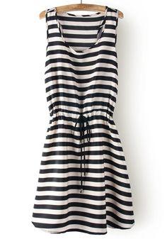++ Striped Drawstring Sleeveless Cotton Dress