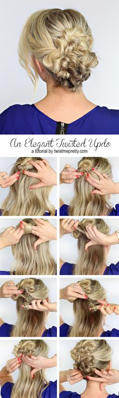 An Elegant Twisted Updo - Twist Me Pretty - An Elegant Twisted Updo – Twist Me Pretty Beautiful and Easy Hairstyles for Work Easy Work Hairstyles, Braided Hairstyles Updo, My Hairstyle, Trendy Hairstyles, Hairstyle Tutorials, Hairstyle Ideas, Hair Ideas, Hairdos, Spring Hairstyles