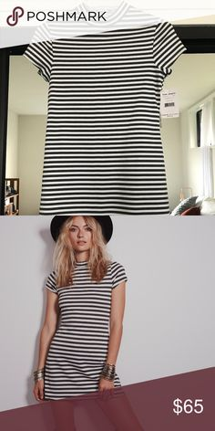 NWT Free People Dress New with tags! Charcoal and white striped dress Free People Dresses