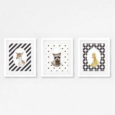Set van 3 dieren prints - kwekerij kunstwerk - wasbeer, eend en herten prints - kwekerij dieren prints - Cute dieren artwork - fotografie dier