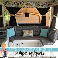 Beth's pop up camper makeover gives a fun twist to the black and white theme.  I love the bright accent colors.