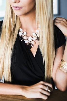 Magnolia Grove Necklace #accessories #black #blush #bold #crystal #enamel #flower #jewelry #magnolia #necklace #peach #rhinestone #sophisticated #statement #white #women #womens