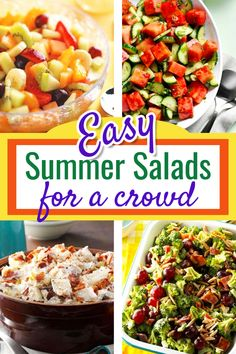 Summer Salads for a CROWD! Easy Make Ahead Salads for a Crowd or large group including Green Salads Tossed Salads Fruit Salads Pasta Salads Vegetable Salads and Potato Salad Recipes for a large group potluck or any large crowd. Easy salads for parti Cookout Side Dishes, Party Side Dishes, Cookout Food, Side Dishes Easy, Sides For A Cookout, Potluck Dishes, Pasta Dishes, Main Dishes, Salad Recipes Healthy Lunch