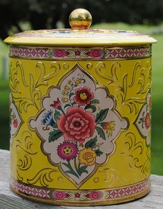 Yellow Vintage tin by Daher
