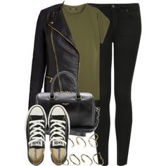 √ Army Green Basic Top √ Black Leather Jacket √ Black Skinny Jeans √ Converse Shoes √ Black Leather handbag High school outfit