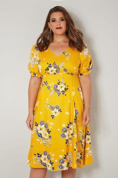 1feaec1c47 YOURS LONDON Yellow Floral Tea Dress