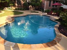 Now we need some effect work in this pool Above Ground Fiberglass Pools, Small Inground Swimming Pools, Roman Pool, Round Rock, Pool Builders, Rock Pools, Backyards, Building, Outdoor Decor